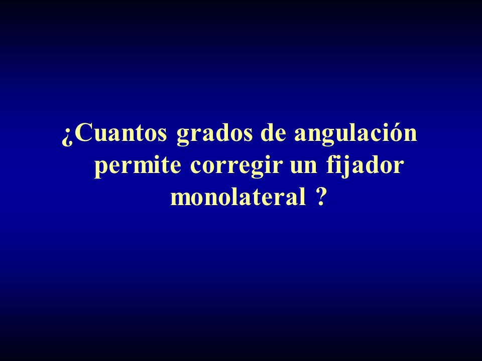 ¿Cuantos grados de angulación permite corregir un fijador monolateral ?