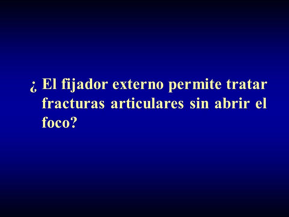 ¿ El fijador externo permite tratar fracturas articulares sin abrir el foco?