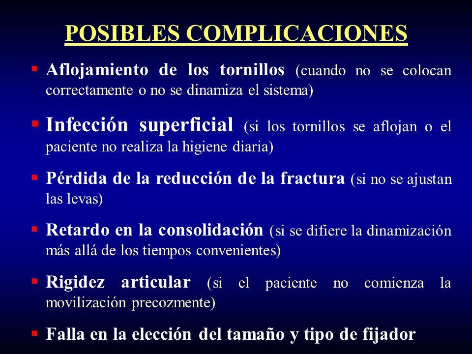 POSIBLES COMPLICACIONES Aflojamiento de los tornillos (cuando no se colocan correctamente o no se dinamiza el sistema) Infección superficial (si los t