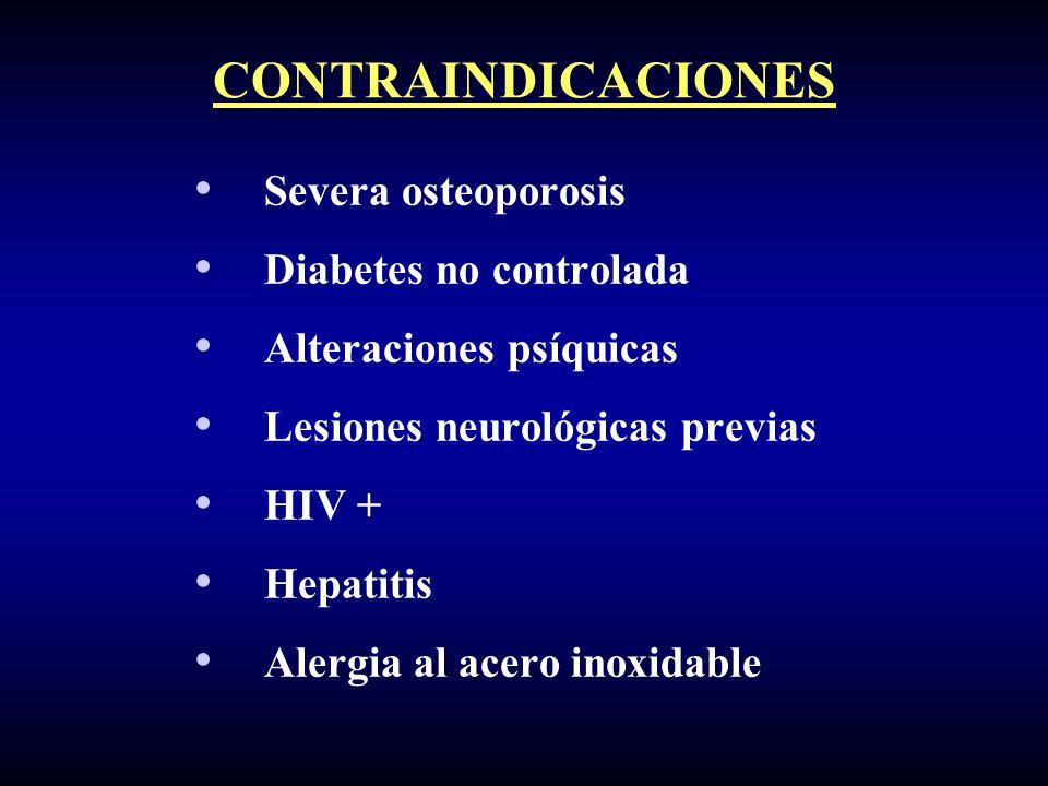 Severa osteoporosis Diabetes no controlada Alteraciones psíquicas Lesiones neurológicas previas HIV + Hepatitis Alergia al acero inoxidable CONTRAINDI