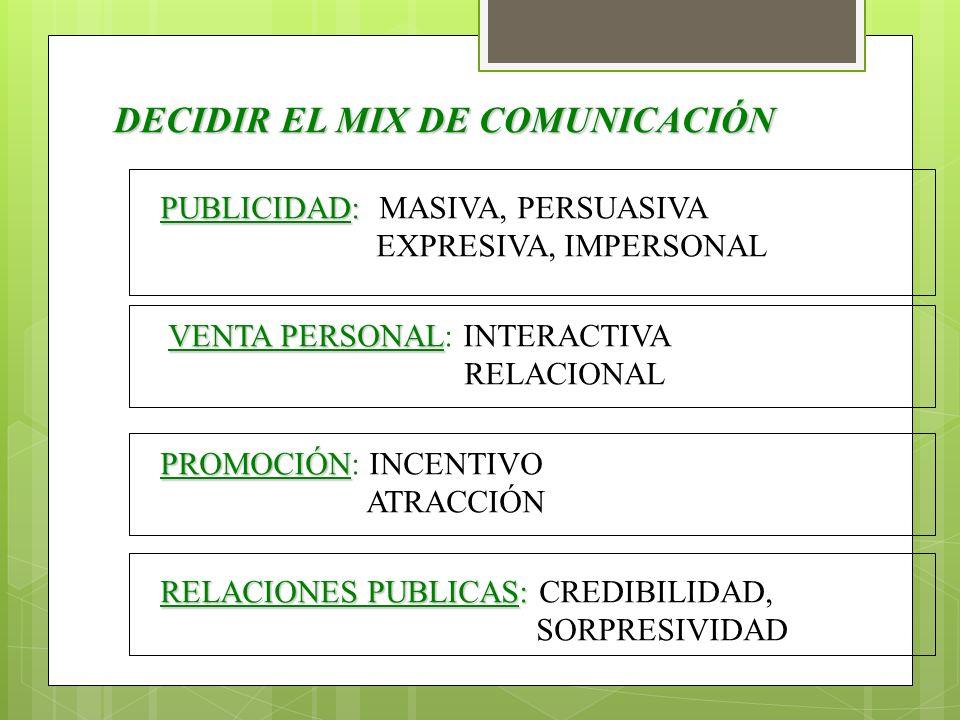 DECIDIR EL MIX DE COMUNICACIÓN PUBLICIDAD: PUBLICIDAD: MASIVA, PERSUASIVA EXPRESIVA, IMPERSONAL VENTA PERSONAL VENTA PERSONAL: INTERACTIVA RELACIONAL