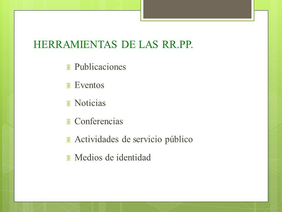 HERRAMIENTAS DE LAS RR.PP. 3 Publicaciones 3 Eventos 3 Noticias 3 Conferencias 3 Actividades de servicio público 3 Medios de identidad