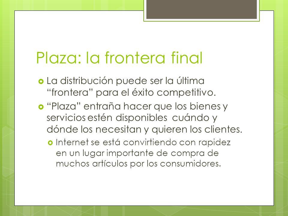 Plaza: la frontera final La distribución puede ser la última frontera para el éxito competitivo. Plaza entraña hacer que los bienes y servicios estén