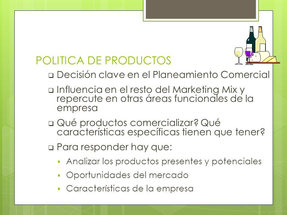 POLITICA DE PRODUCTOS Decisión clave en el Planeamiento Comercial Influencia en el resto del Marketing Mix y repercute en otras áreas funcionales de l
