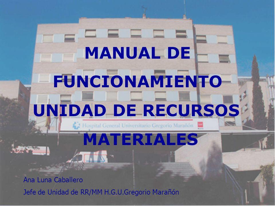 MANUAL DE FUNCIONAMIENTO UNIDAD DE RECURSOS MATERIALES Ana Luna Caballero Jefe de Unidad de RR/MM H.G.U.Gregorio Marañón