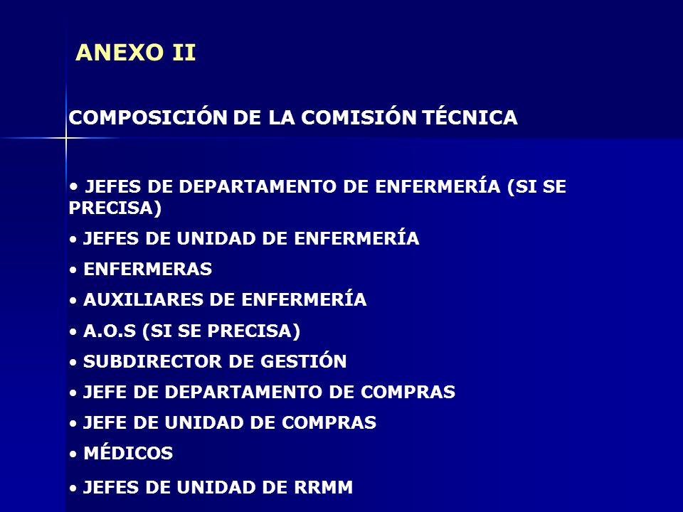 ANEXO II COMPOSICIÓN DE LA COMISIÓN TÉCNICA JEFES DE DEPARTAMENTO DE ENFERMERÍA (SI SE PRECISA) JEFES DE UNIDAD DE ENFERMERÍA ENFERMERAS AUXILIARES DE