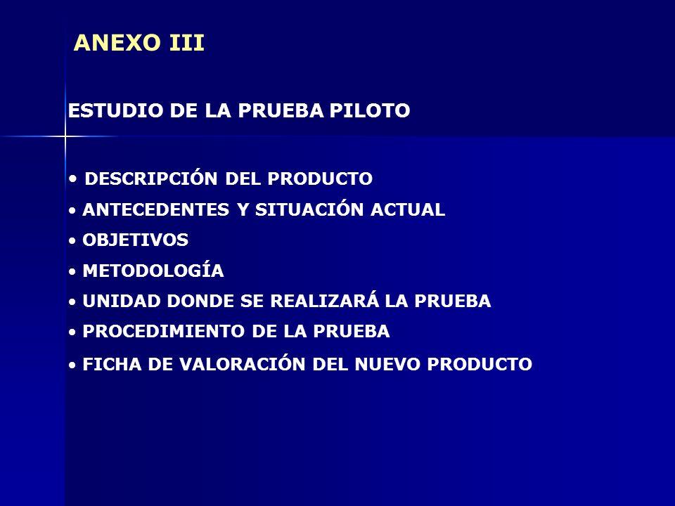 ANEXO III ESTUDIO DE LA PRUEBA PILOTO DESCRIPCIÓN DEL PRODUCTO ANTECEDENTES Y SITUACIÓN ACTUAL OBJETIVOS METODOLOGÍA UNIDAD DONDE SE REALIZARÁ LA PRUE