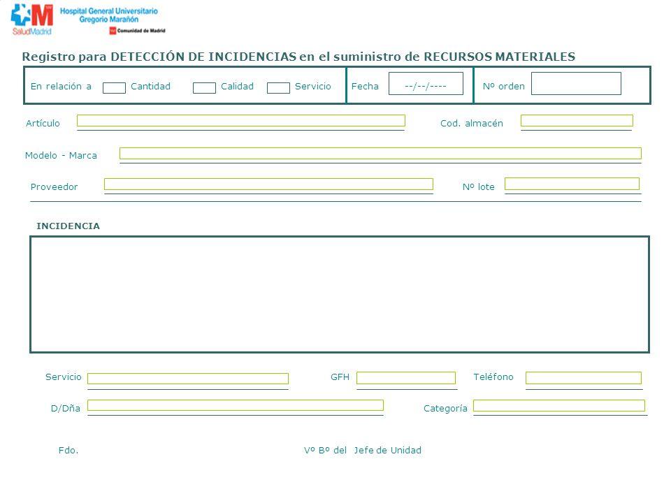 Registro para DETECCIÓN DE INCIDENCIAS en el suministro de RECURSOS MATERIALES En relación a Cantidad Calidad Servicio Fecha --/--/---- Nº orden Artíc