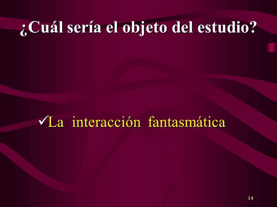 14 ¿Cuál sería el objeto del estudio? La interacción fantasmática La interacción fantasmática