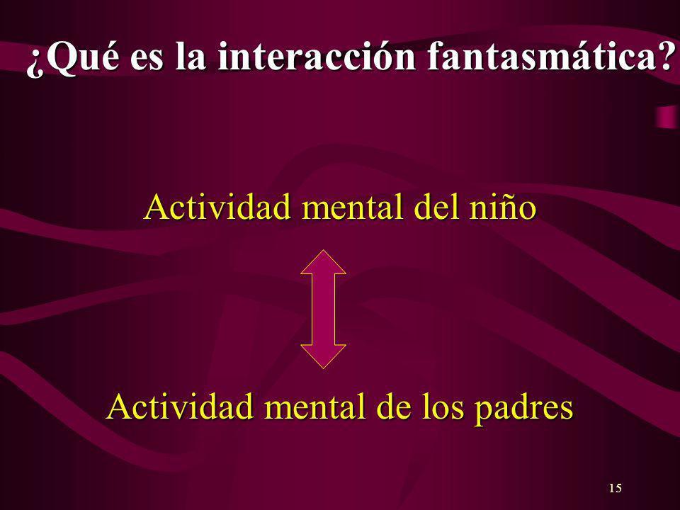 15 ¿Qué es la interacción fantasmática? Actividad mental del niño Actividad mental de los padres