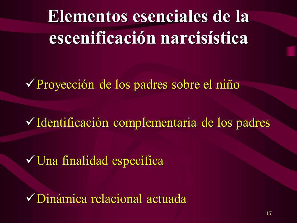 17 Elementos esenciales de la escenificación narcisística Proyección de los padres sobre el niño Proyección de los padres sobre el niño Identificación