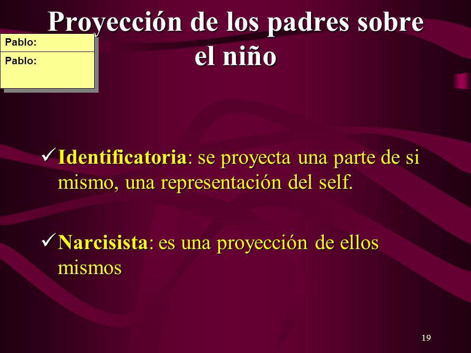 19 Proyección de los padres sobre el niño Identificatoria: se proyecta una parte de si mismo, una representación del self. Identificatoria: se proyect
