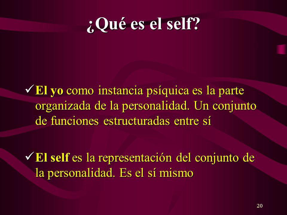 20 ¿Qué es el self? El yo como instancia psíquica es la parte organizada de la personalidad. Un conjunto de funciones estructuradas entre sí El yo com