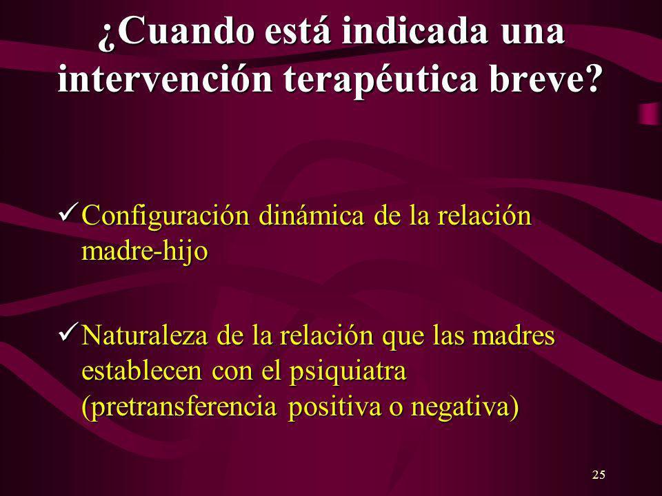 25 ¿Cuando está indicada una intervención terapéutica breve? Configuración dinámica de la relación madre-hijo Configuración dinámica de la relación ma