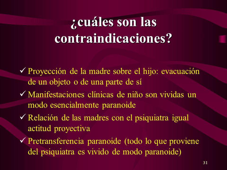 31 ¿cuáles son las contraindicaciones? Proyección de la madre sobre el hijo: evacuación de un objeto o de una parte de sí Manifestaciones clínicas de