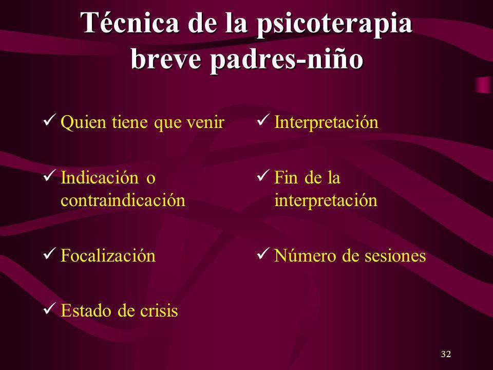 32 Técnica de la psicoterapia breve padres-niño Quien tiene que venir Indicación o contraindicación Focalización Estado de crisis Interpretación Fin d