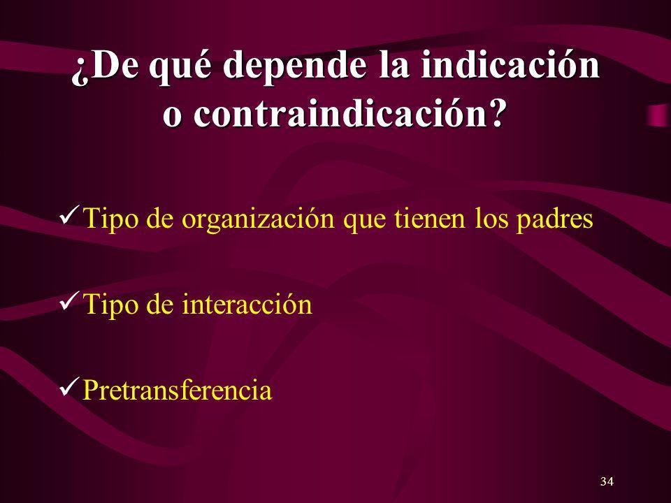 34 ¿De qué depende la indicación o contraindicación? Tipo de organización que tienen los padres Tipo de interacción Pretransferencia