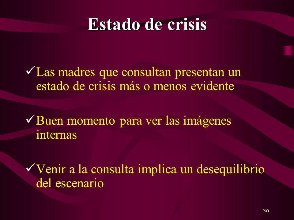 36 Estado de crisis Las madres que consultan presentan un estado de crisis más o menos evidente Buen momento para ver las imágenes internas Venir a la