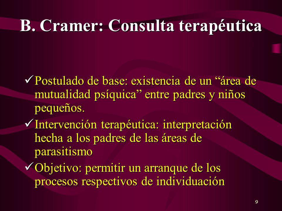 9 B. Cramer: Consulta terapéutica Postulado de base: existencia de un área de mutualidad psíquica entre padres y niños pequeños. Postulado de base: ex