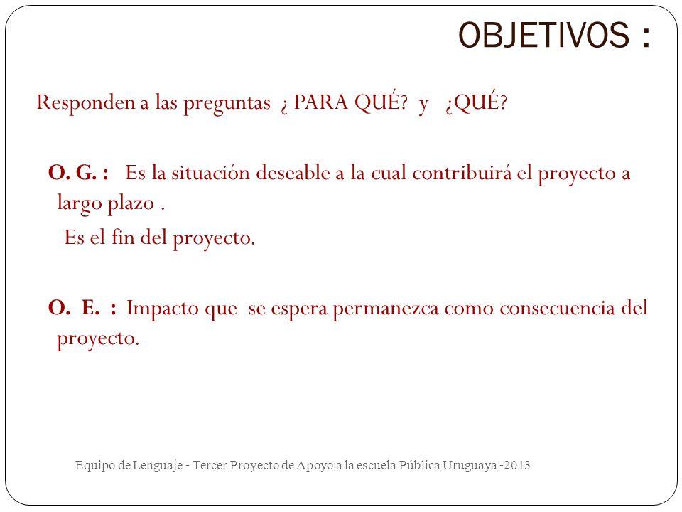 Planificación del proyecto Equipo de Lenguaje - Tercer Proyecto de Apoyo a la escuela Pública Uruguaya -2013 FUNDAMENTACIÓN El proyecto es una tarea i