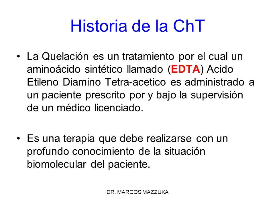DR. MARCOS MAZZUKA La Quelación es un tratamiento por el cual un aminoácido sintético llamado (EDTA) Acido Etileno Diamino Tetra-acetico es administra