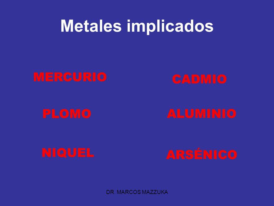 DR. MARCOS MAZZUKA Metales implicados MERCURIO PLOMO CADMIO NIQUEL ALUMINIO ARSÉNICO