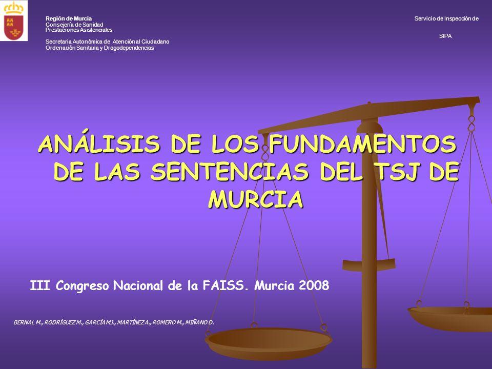 ANÁLISIS DE LOS FUNDAMENTOS DE LAS SENTENCIAS DEL TSJ DE MURCIA III Congreso Nacional de la FAISS.