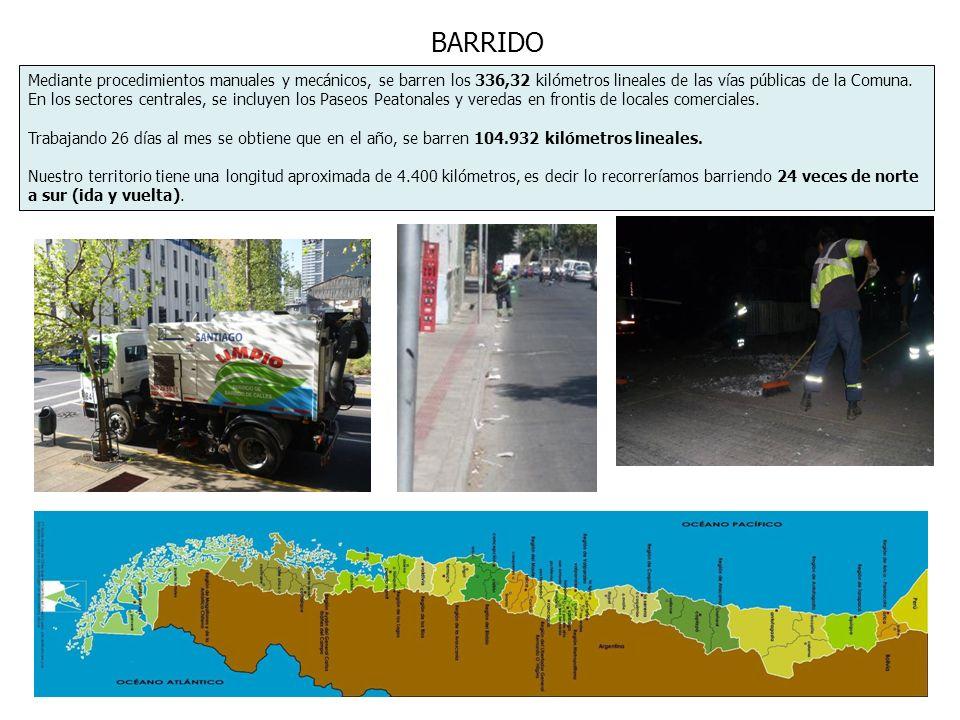 BARRIDO Mediante procedimientos manuales y mecánicos, se barren los 336,32 kilómetros lineales de las vías públicas de la Comuna. En los sectores cent