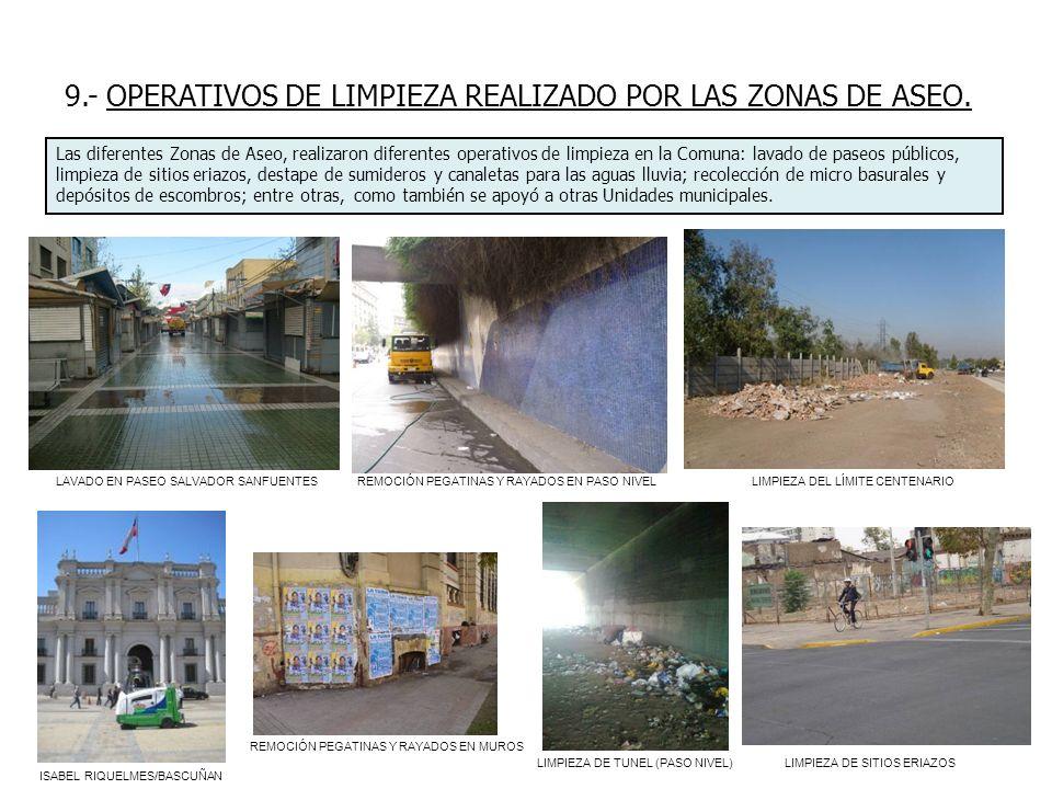 9.- OPERATIVOS DE LIMPIEZA REALIZADO POR LAS ZONAS DE ASEO. Las diferentes Zonas de Aseo, realizaron diferentes operativos de limpieza en la Comuna: l