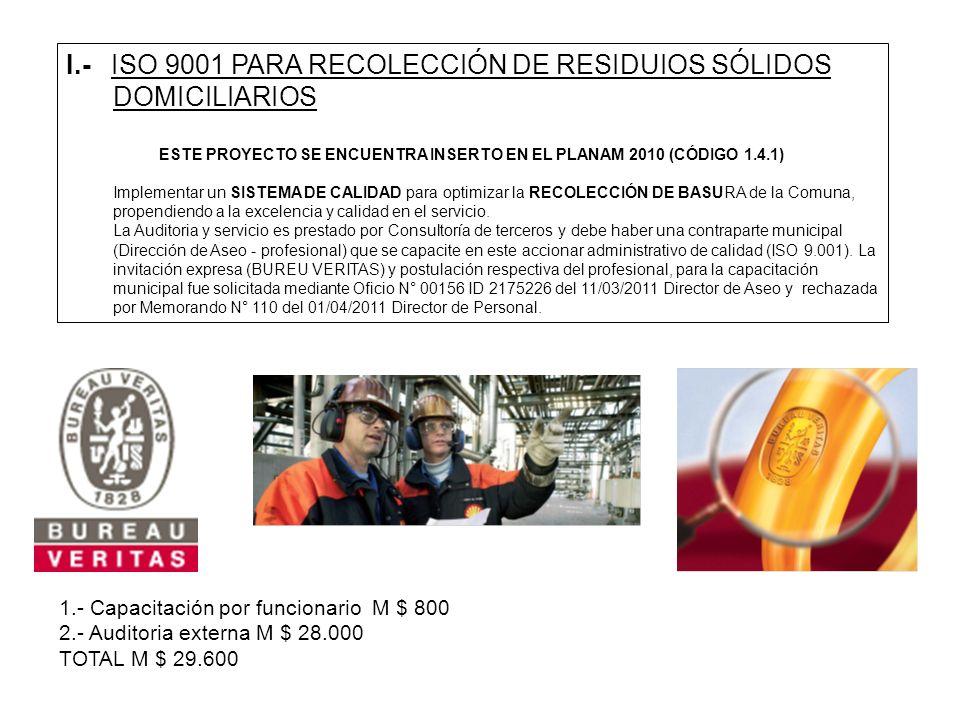 I.- ISO 9001 PARA RECOLECCIÓN DE RESIDUIOS SÓLIDOS DOMICILIARIOS ESTE PROYECTO SE ENCUENTRA INSERTO EN EL PLANAM 2010 (CÓDIGO 1.4.1) Implementar un SI