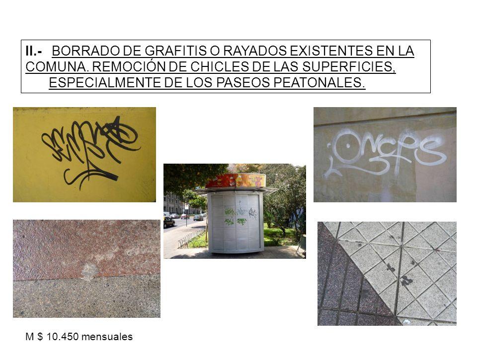 II.- BORRADO DE GRAFITIS O RAYADOS EXISTENTES EN LA COMUNA. REMOCIÓN DE CHICLES DE LAS SUPERFICIES, ESPECIALMENTE DE LOS PASEOS PEATONALES. M $ 10.450