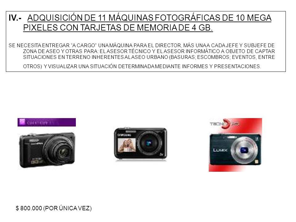 IV.- ADQUISICIÓN DE 11 MÁQUINAS FOTOGRÁFICAS DE 10 MEGA PIXELES CON TARJETAS DE MEMORIA DE 4 GB. SE NECESITA ENTREGAR A CARGO UNA MÁQUINA PARA EL DIRE