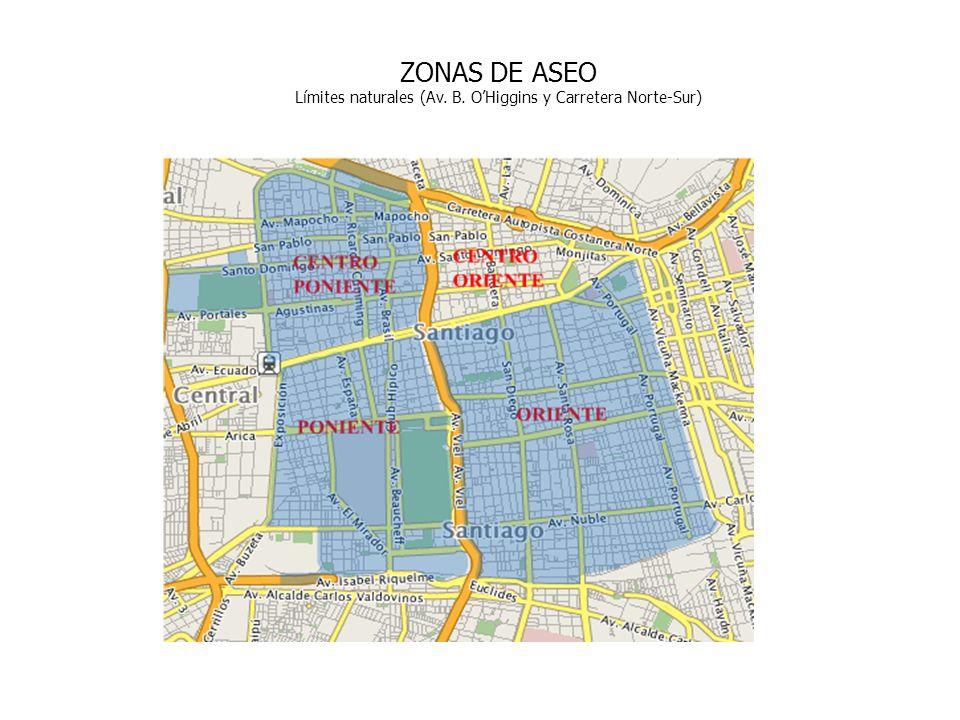 ZONAS DE ASEO Límites naturales (Av. B. OHiggins y Carretera Norte-Sur)