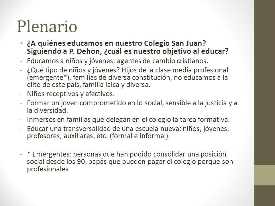 Plenario ¿A quiénes educamos en nuestro Colegio San Juan.
