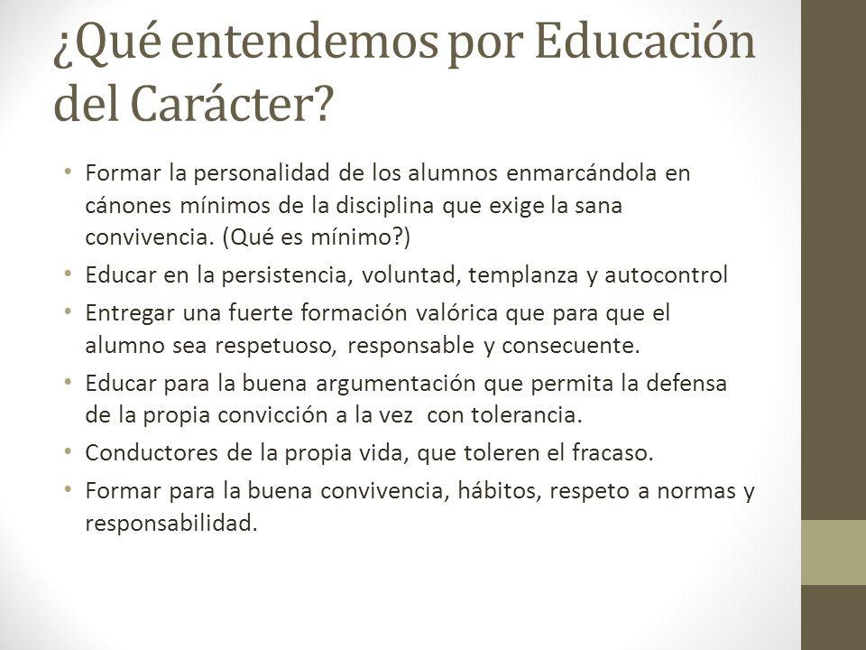 ¿Qué entendemos por Educación del Carácter.