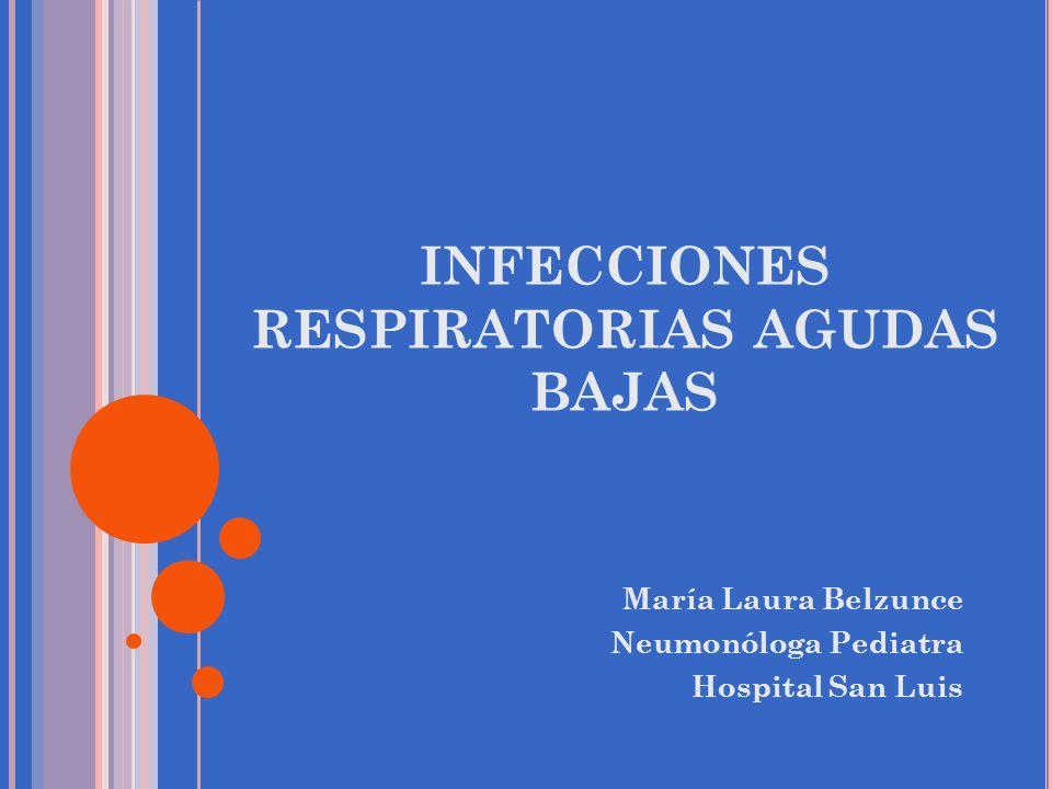 INFECCIONES RESPIRATORIAS AGUDAS BAJAS María Laura Belzunce Neumonóloga Pediatra Hospital San Luis
