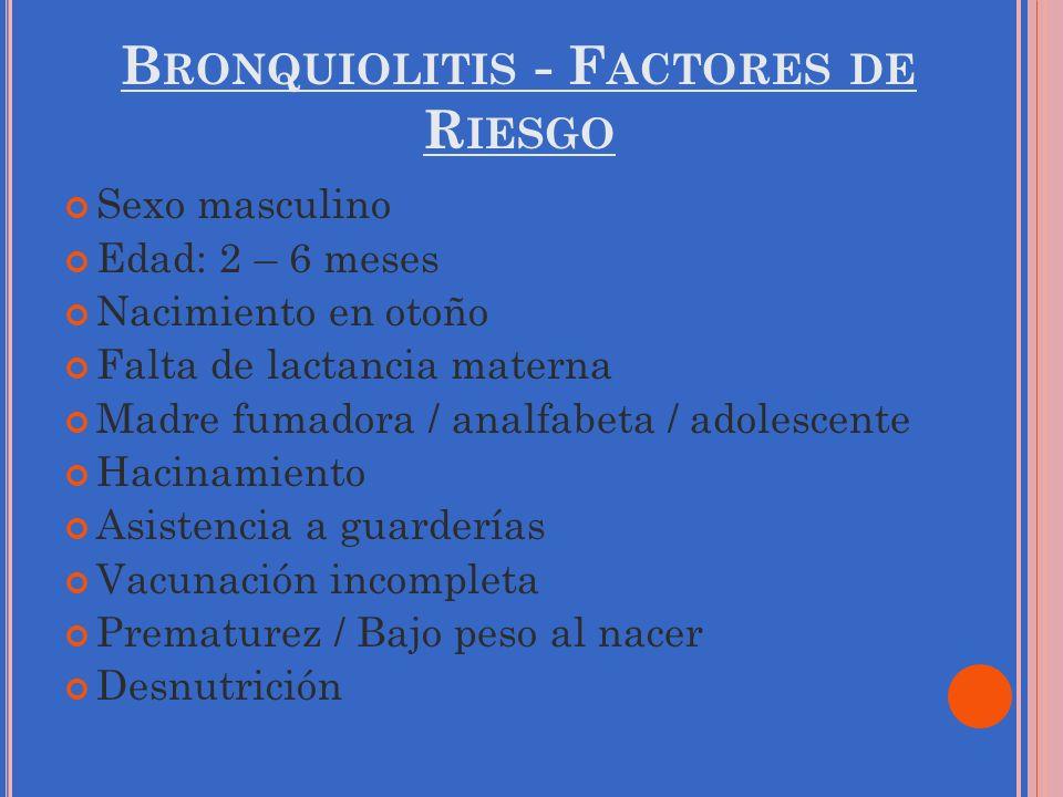 B RONQUIOLITIS - F ACTORES DE R IESGO Sexo masculino Edad: 2 – 6 meses Nacimiento en otoño Falta de lactancia materna Madre fumadora / analfabeta / ad