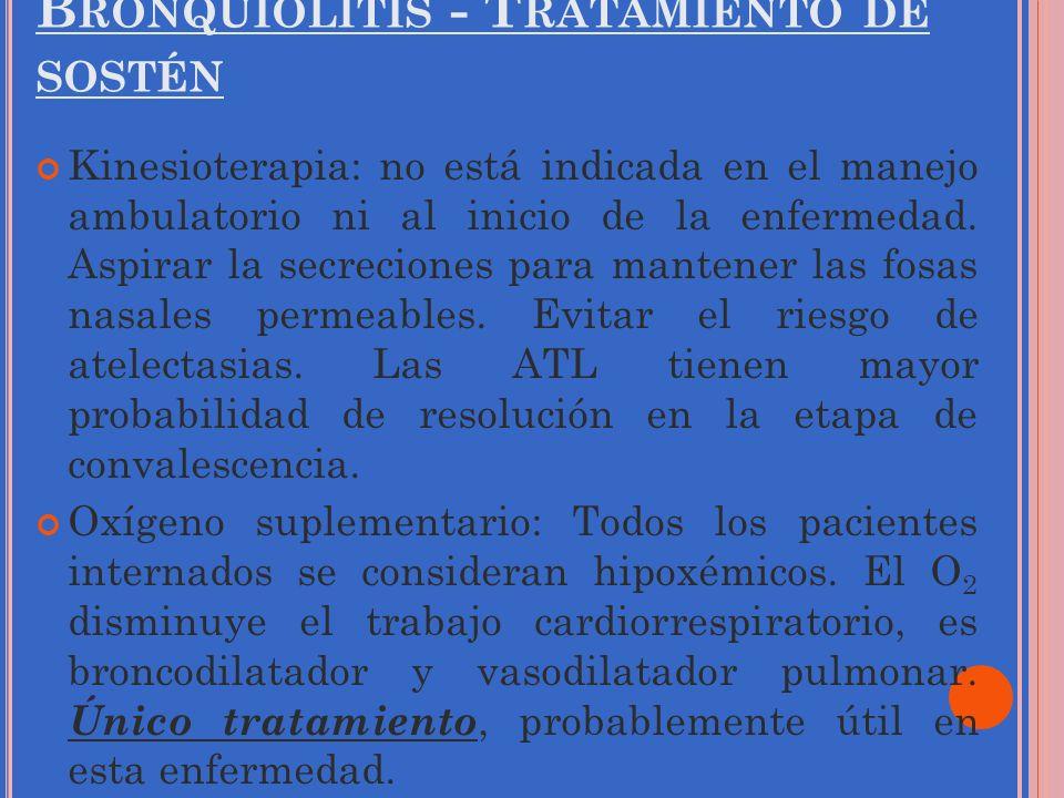 B RONQUIOLITIS - T RATAMIENTO DE SOSTÉN Kinesioterapia: no está indicada en el manejo ambulatorio ni al inicio de la enfermedad. Aspirar la secrecione