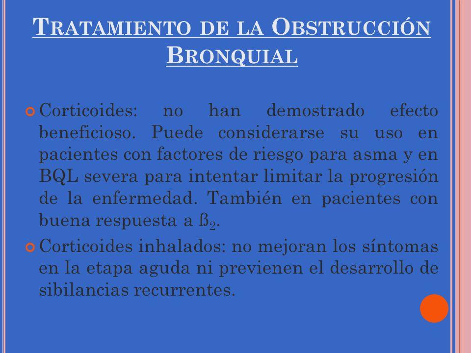 T RATAMIENTO DE LA O BSTRUCCIÓN B RONQUIAL Corticoides: no han demostrado efecto beneficioso. Puede considerarse su uso en pacientes con factores de r