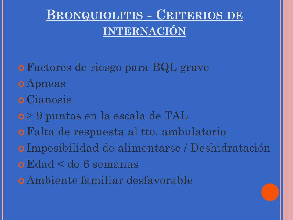 B RONQUIOLITIS - C RITERIOS DE INTERNACIÓN Factores de riesgo para BQL grave Apneas Cianosis 9 puntos en la escala de TAL Falta de respuesta al tto. a