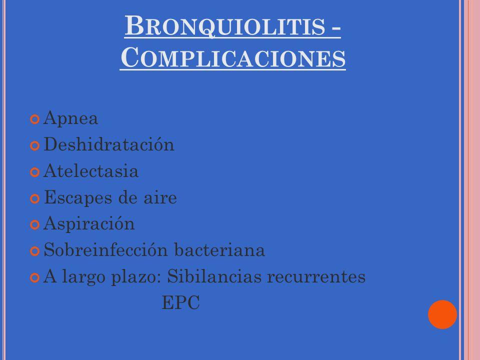 B RONQUIOLITIS - C OMPLICACIONES Apnea Deshidratación Atelectasia Escapes de aire Aspiración Sobreinfección bacteriana A largo plazo: Sibilancias recu