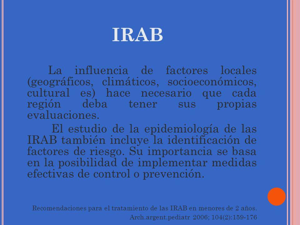 IRAB La influencia de factores locales (geográficos, climáticos, socioeconómicos, cultural es) hace necesario que cada región deba tener sus propias e