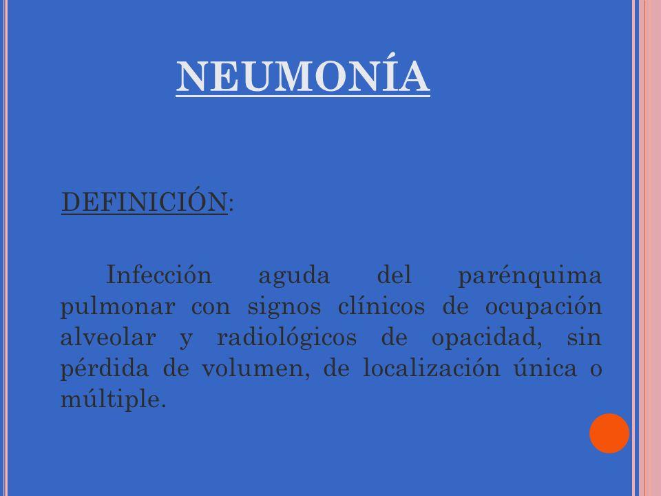 NEUMONÍA DEFINICIÓN: Infección aguda del parénquima pulmonar con signos clínicos de ocupación alveolar y radiológicos de opacidad, sin pérdida de volu