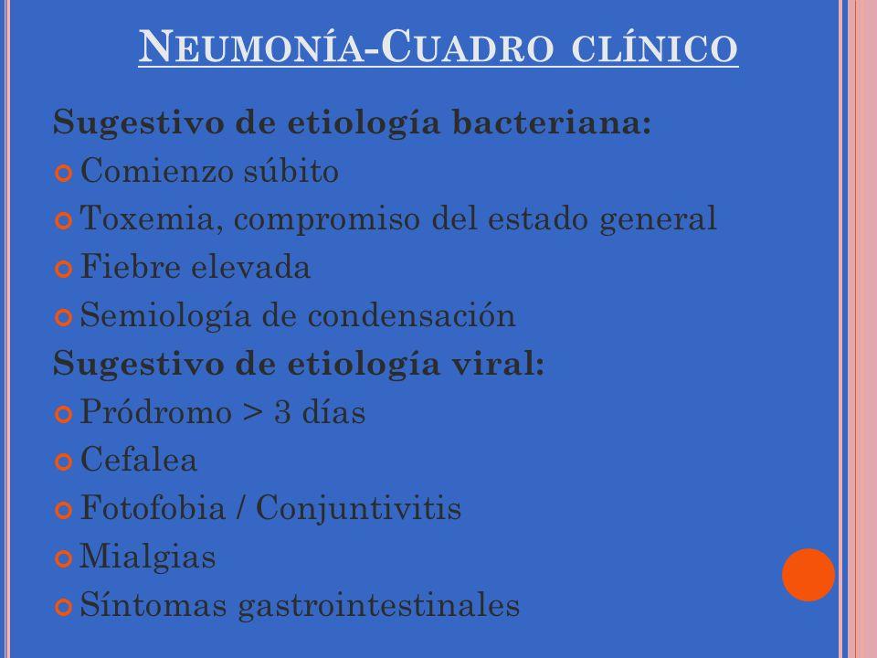 N EUMONÍA -C UADRO CLÍNICO Sugestivo de etiología bacteriana: Comienzo súbito Toxemia, compromiso del estado general Fiebre elevada Semiología de cond