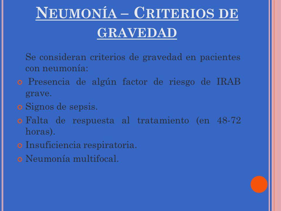 N EUMONÍA – C RITERIOS DE GRAVEDAD Se consideran criterios de gravedad en pacientes con neumonía: Presencia de algún factor de riesgo de IRAB grave. S