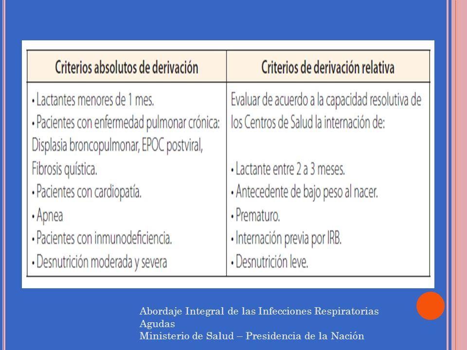 Abordaje Integral de las Infecciones Respiratorias Agudas Ministerio de Salud – Presidencia de la Nación
