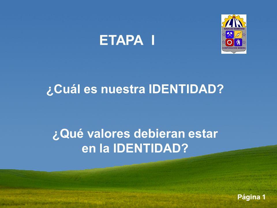 Página 1 ETAPA I ¿Cuál es nuestra IDENTIDAD? ¿Qué valores debieran estar en la IDENTIDAD?