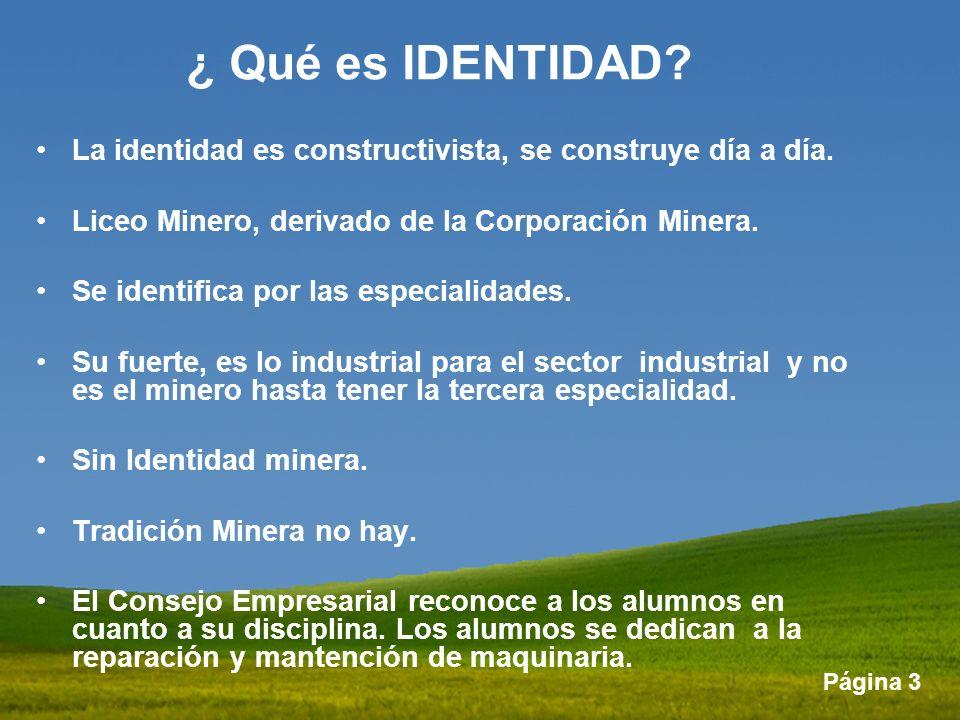 Página 3 La identidad es constructivista, se construye día a día. Liceo Minero, derivado de la Corporación Minera. Se identifica por las especialidade