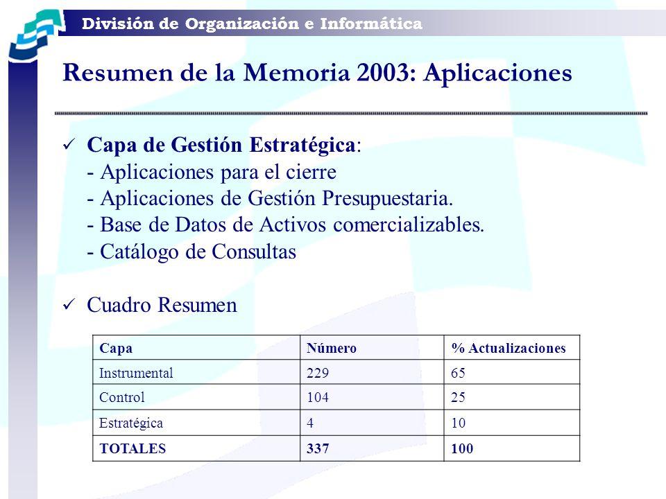 División de Organización e Informática Resumen de la Memoria 2003: Aplicaciones Capa de Gestión Estratégica: - Aplicaciones para el cierre - Aplicacio