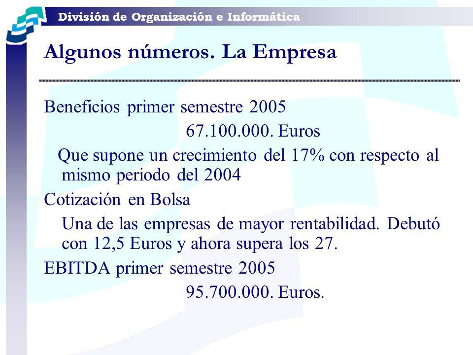 División de Organización e Informática Algunos números. La Empresa Beneficios primer semestre 2005 67.100.000. Euros Que supone un crecimiento del 17%